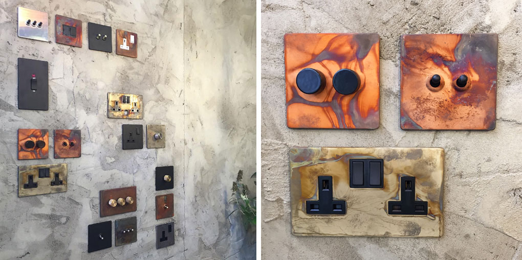 left image shows a collection of switches and sockets on a concrete wall, right image shows a copper and black double dimmer switch, copper and black double toggle switch and smoked gold and black double socket on a concrete wall