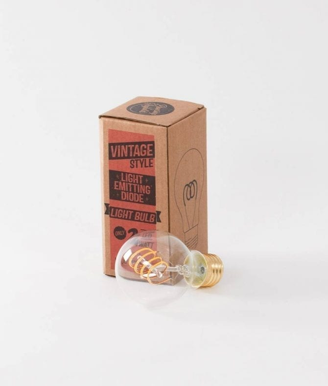 quad loop led filament bulbs with box against white background