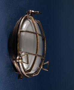 Bulkhead Light Chris Aged Brass industrial bathroom lighting