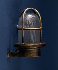 Bulkhead Light Simon Aged Brass industrial bathroom lighting
