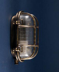 Bulkhead Light Steve Aged Brass industrial bathroom lighting