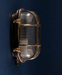 Bulkhead Light Steve posh aged brass industrial bathroom lighting