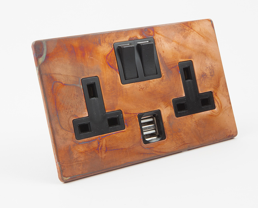 Tarnished Copper Socket with USB Port