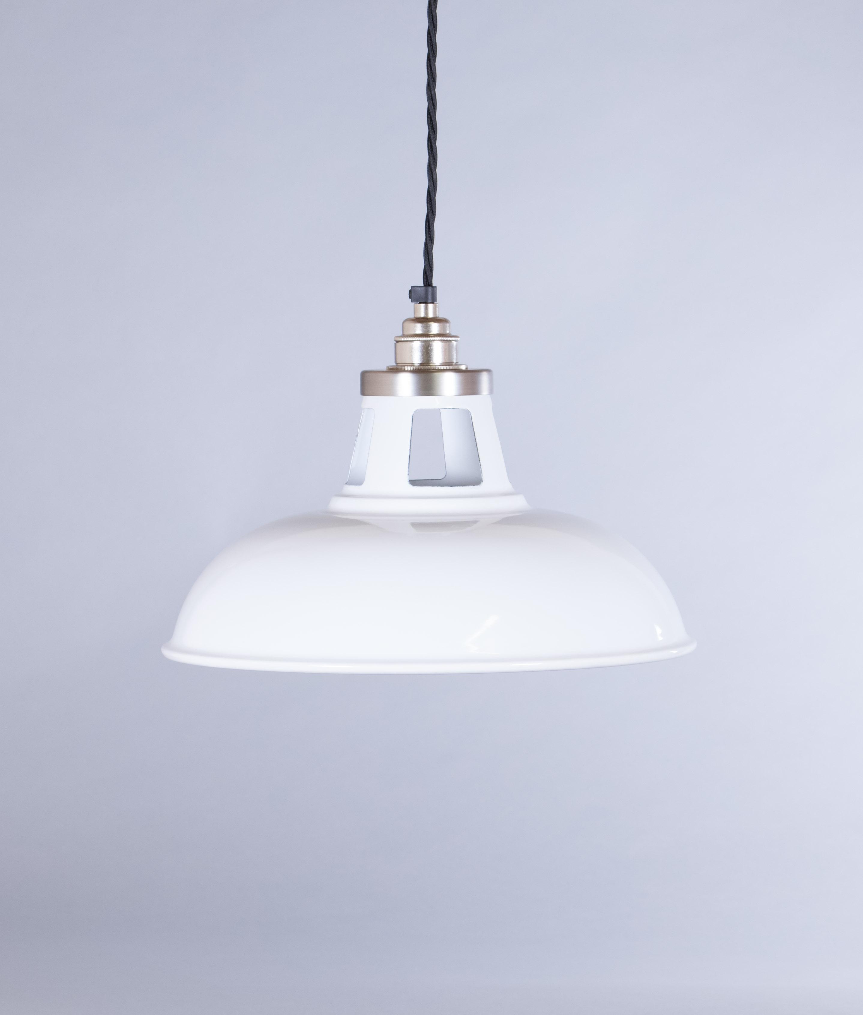white enamel pendant light shade farsley industrial style