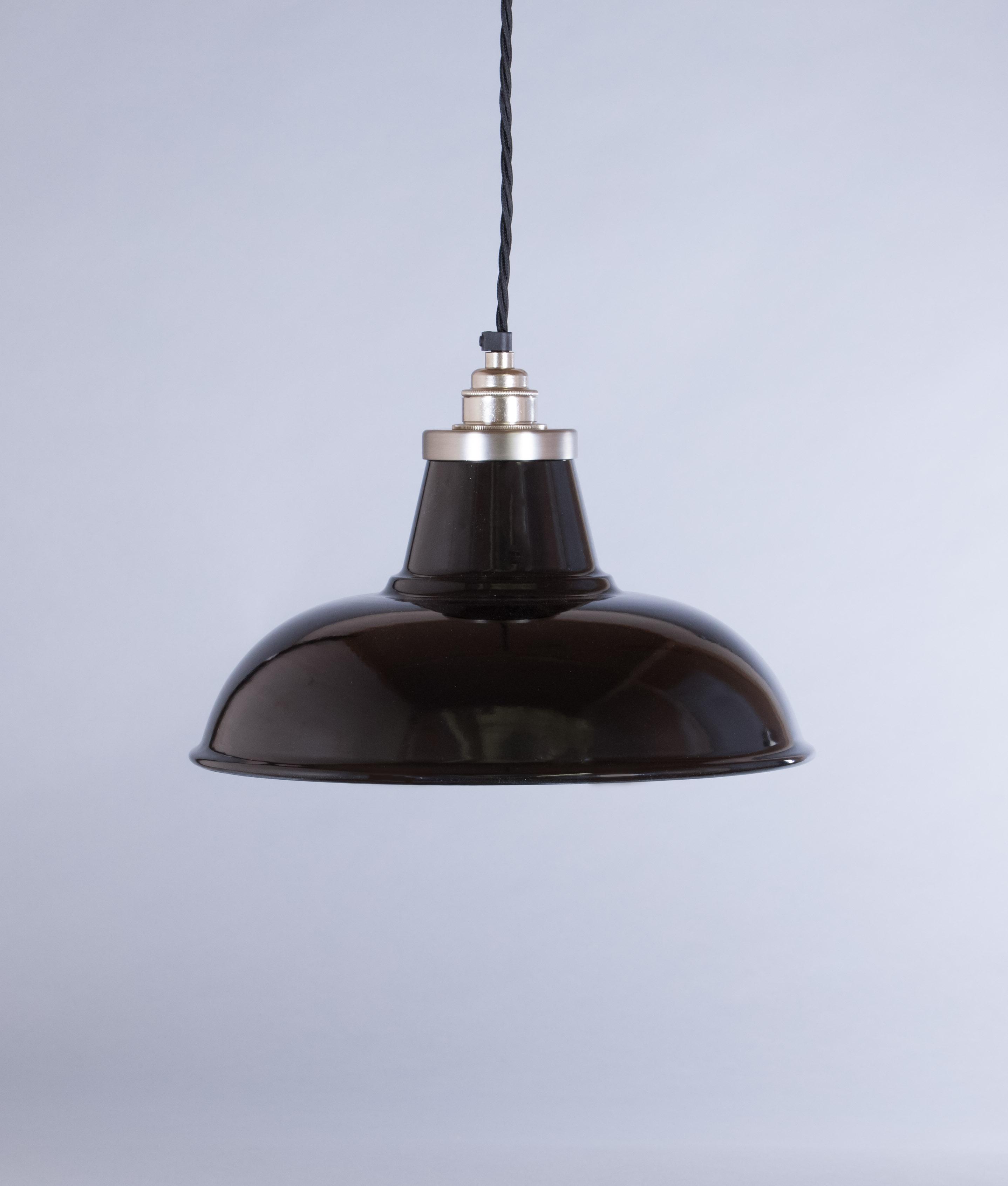 Black Enamel Pendant Light Shade Morley Industrial Style