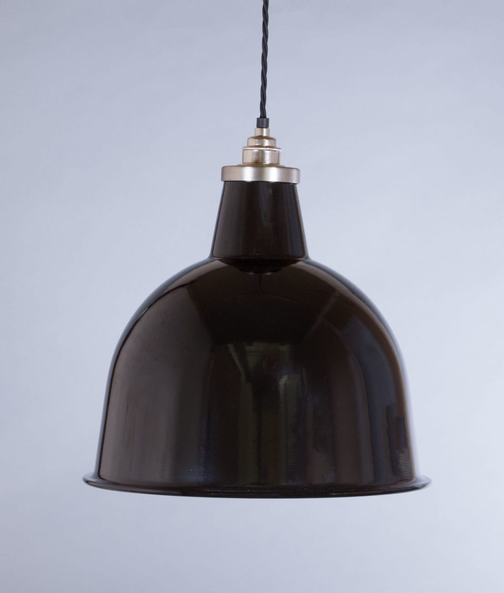 stourton black enamel metal pendant lights suspended from black fabric cable against grey wall