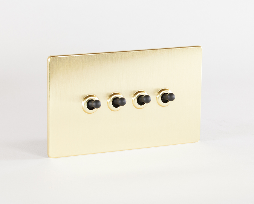 Gold & Black Quadruple Toggle Switch