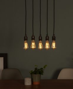 LED filament bulbs hanging in series