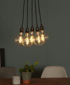 multiple LED spiral filament globe bulbs