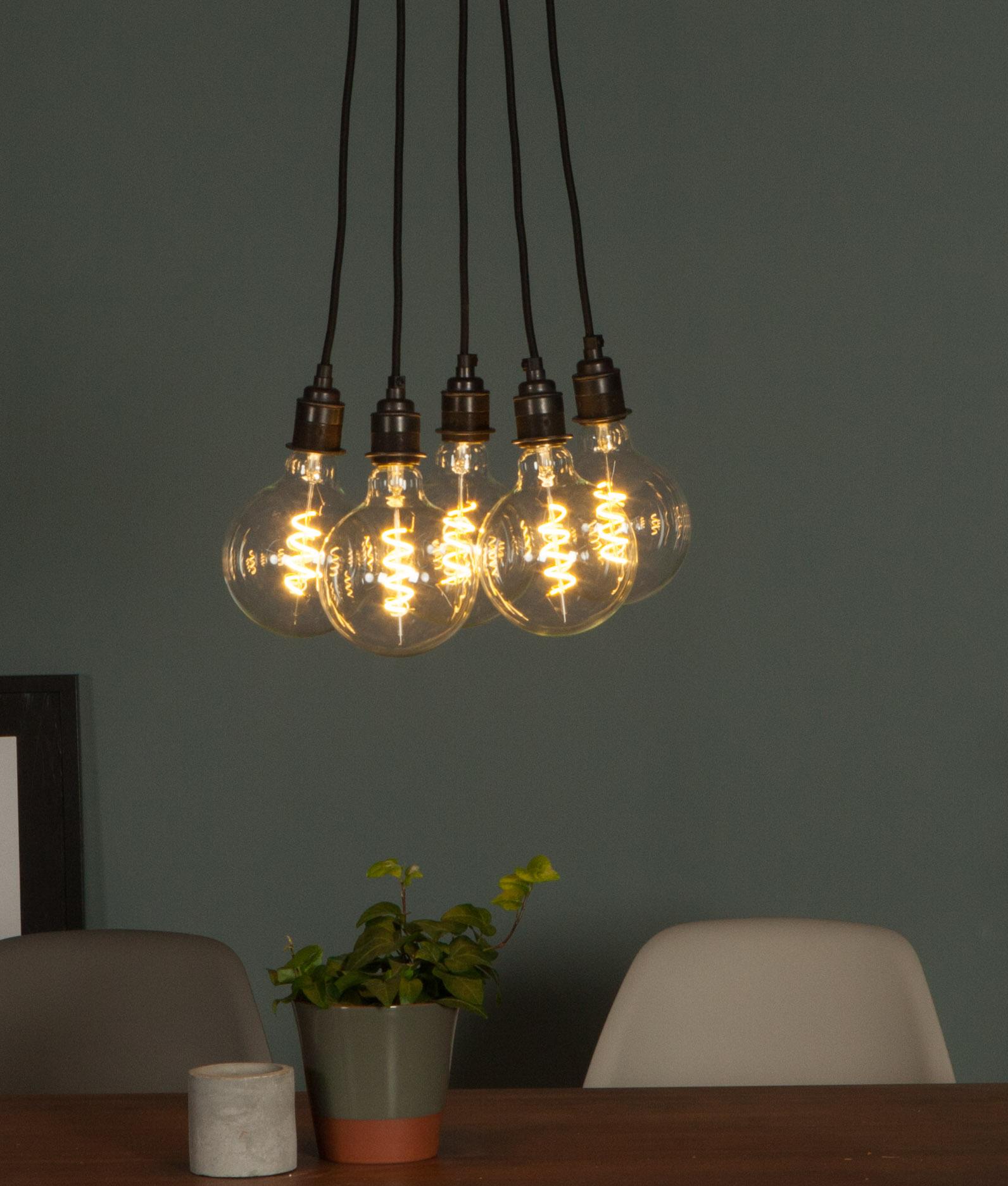 LED Filament Bulb Spiral Extra Large Globe Warm Glow