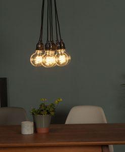 5 LED spiral filament bulbs hanging together