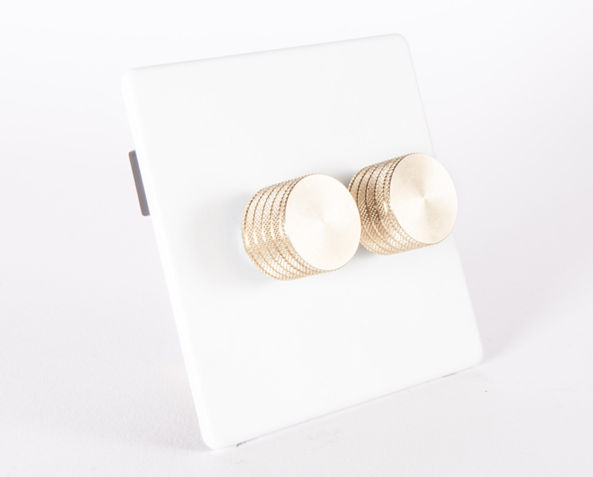 White Double Dimmer Switch with Gold Knobs