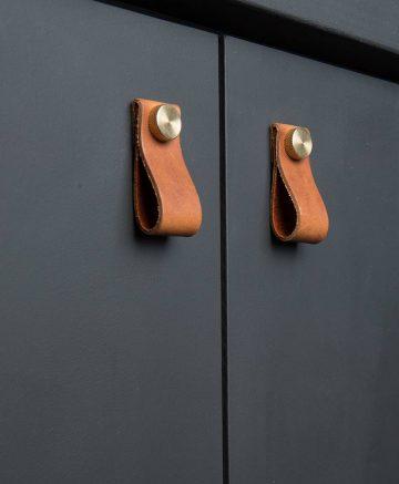 magni door handle volcanic cinder & brass