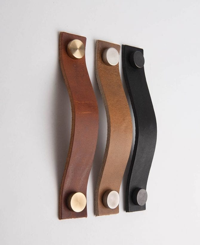 THOR leather kitchen door handle