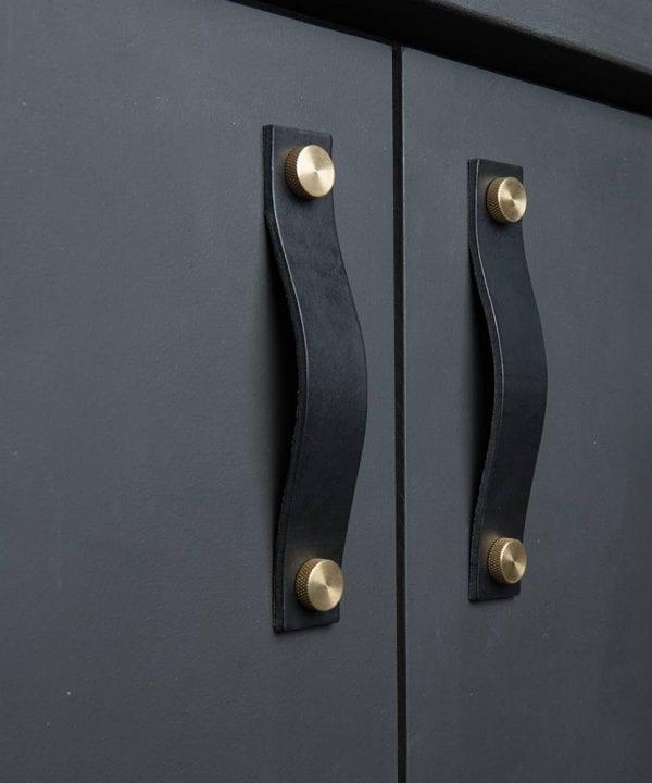 kitchen door handle thor black & brass