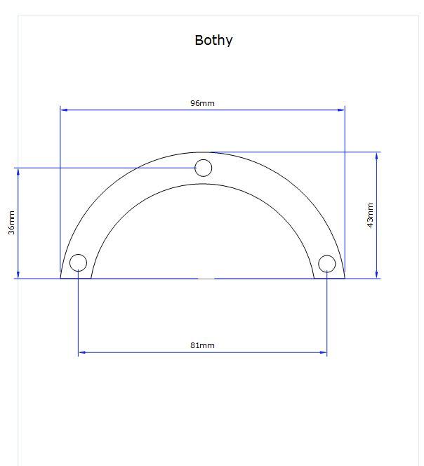 dimensions for bothy kitchen door handle
