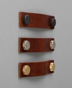 THOR VOLCANIC CINDER leather kitchen door handles, dark brown leather pull two metal fastening studs