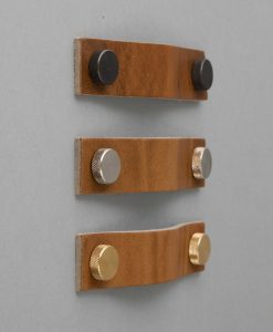 THOR RAW UMBER leather kitchen door handles, mid-tan leather drawer pull with metal fastenings