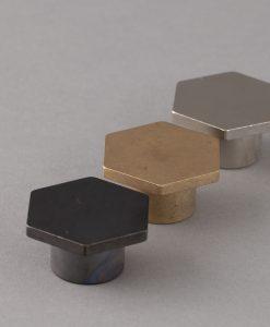 BAUHAUS kitchen drawer knobs in brass, bronze & silver