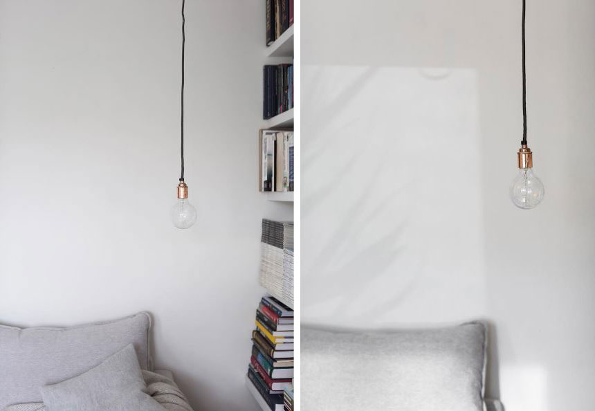 left images shows bare filament light bulb suspended from copper bulb holder and black fabric cable in white bedroom, right image shows closeup of the pendant light