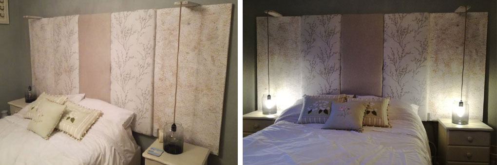 collage of two photos. photo on the left shows a side profile of a bed with large panelled headboard, image on the right shows the same but from the front angle