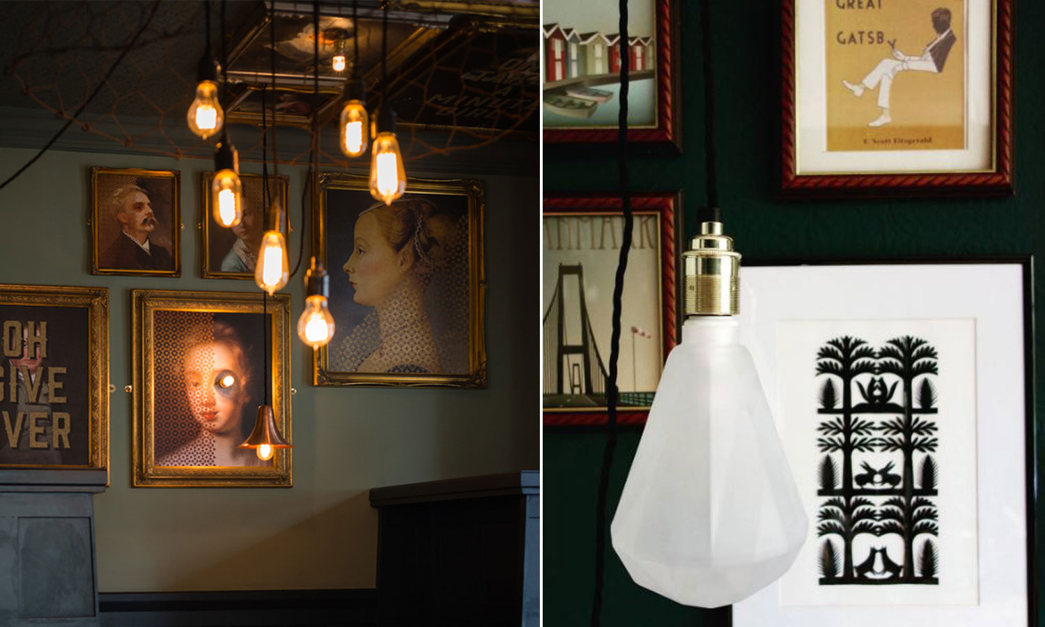 left image 6 bulbs suspended with framed paintings, right image frosted diamond bulb in front of framed prints