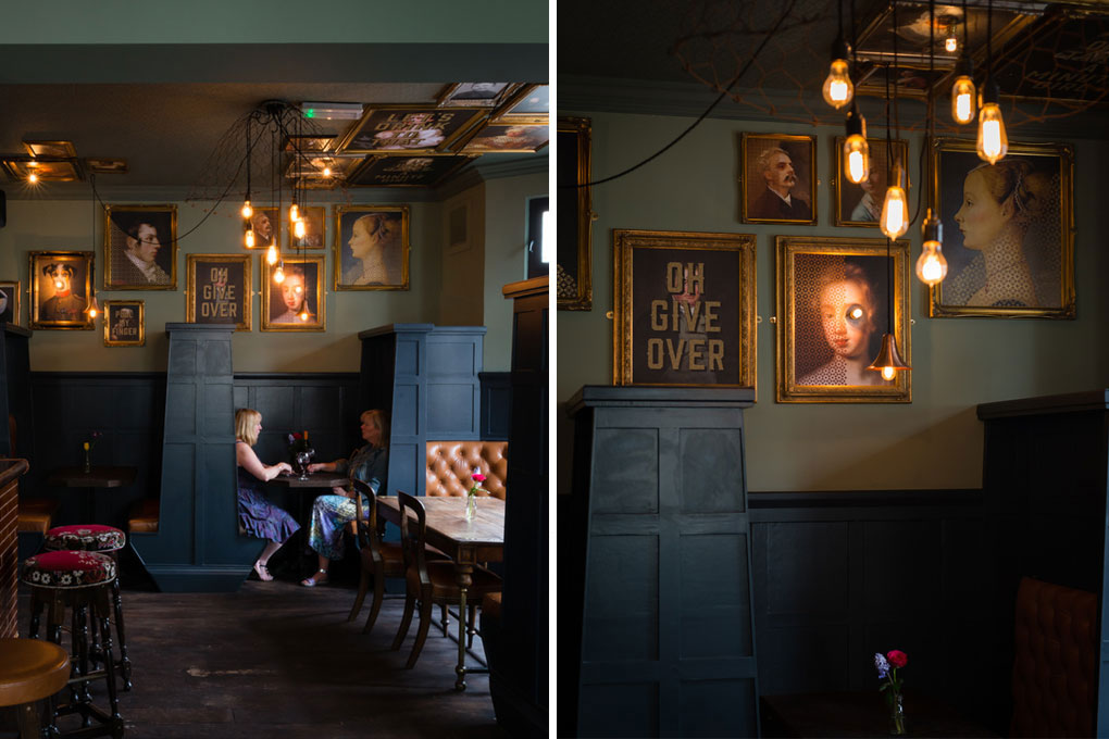 left image shows a view of the better half pub completre with gallery wall and cluster light pendant, right image shows closeup of bare filament light bulbs