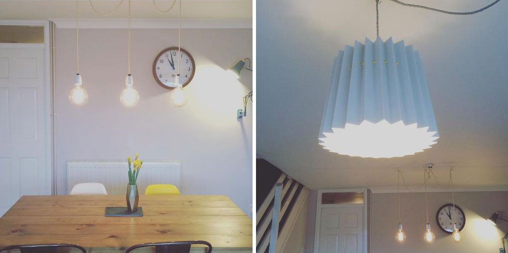 collage of two pictures. the photo on the left shows a series of bare bulbs suspended above a wooden dining table, the image on the left shows  a white paper lampshade in the same room