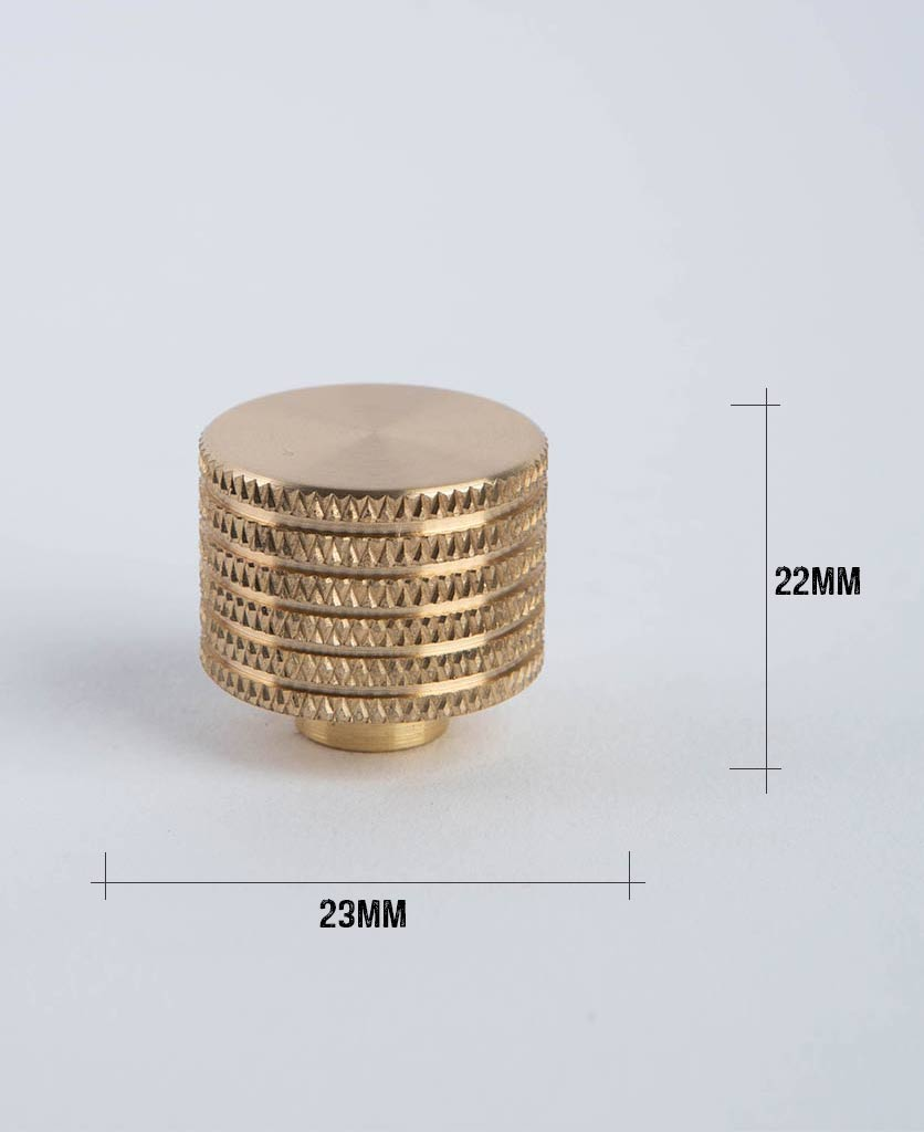 avant garde large brass knob with dimensions against white background
