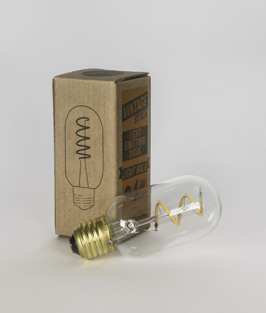LED radio valve light bulb with box against white background