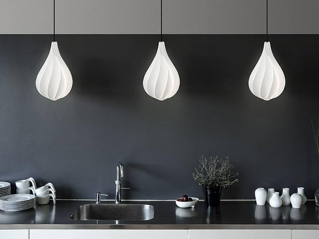 3 vita alva medium white lampshade pendants above kitchen counter