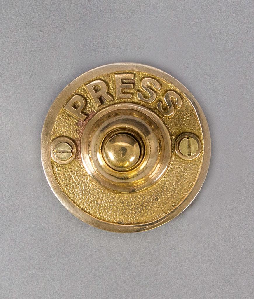 PRESS FOR ATTENTION brass doorbell