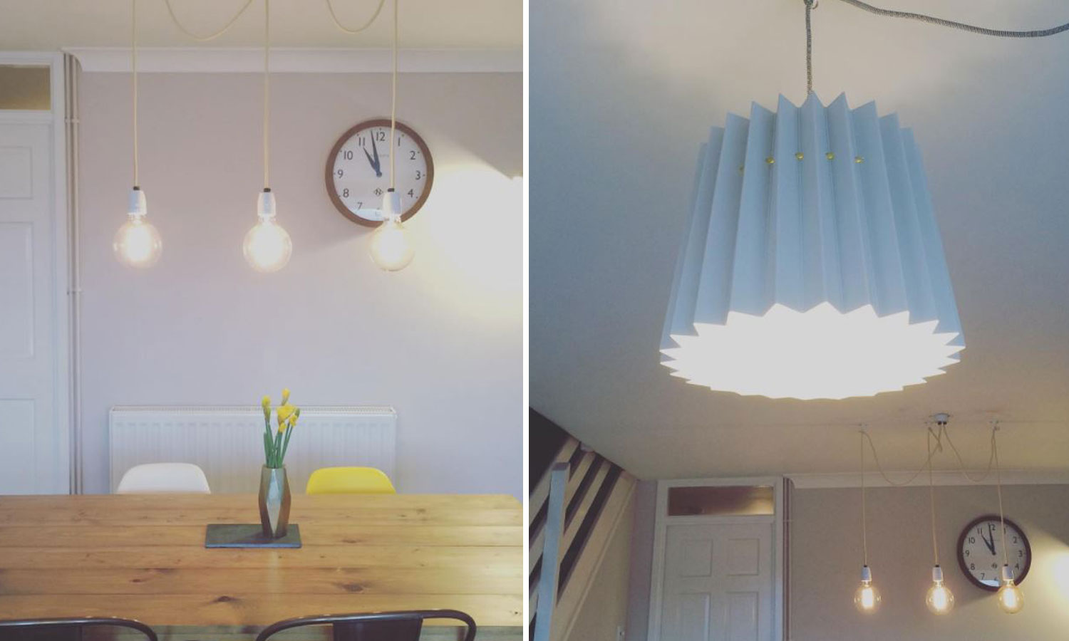 left image 3 bulb pendants above table, right image light blue origami lamp shade