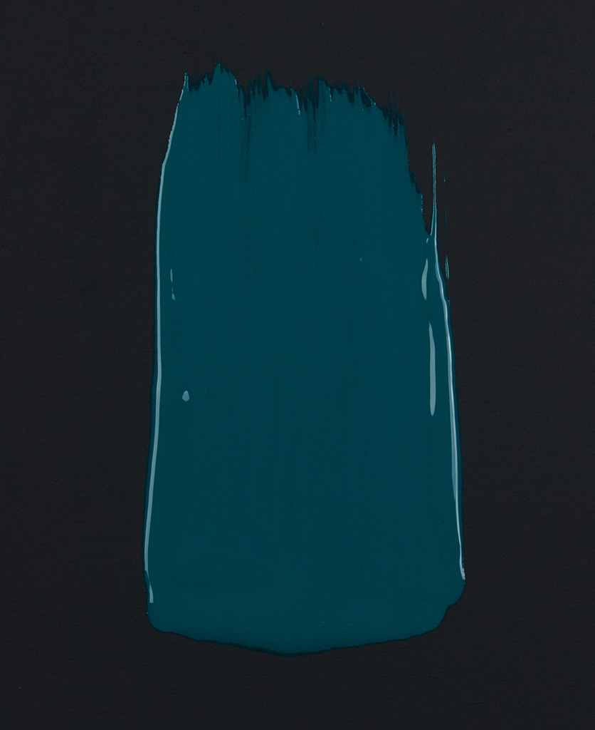 Teal the show blue green paint swatch on dark background