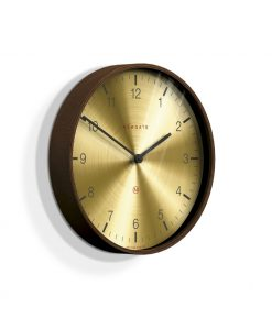 Newgate Mr Clarke dark wood & brass numerical dial wall clock