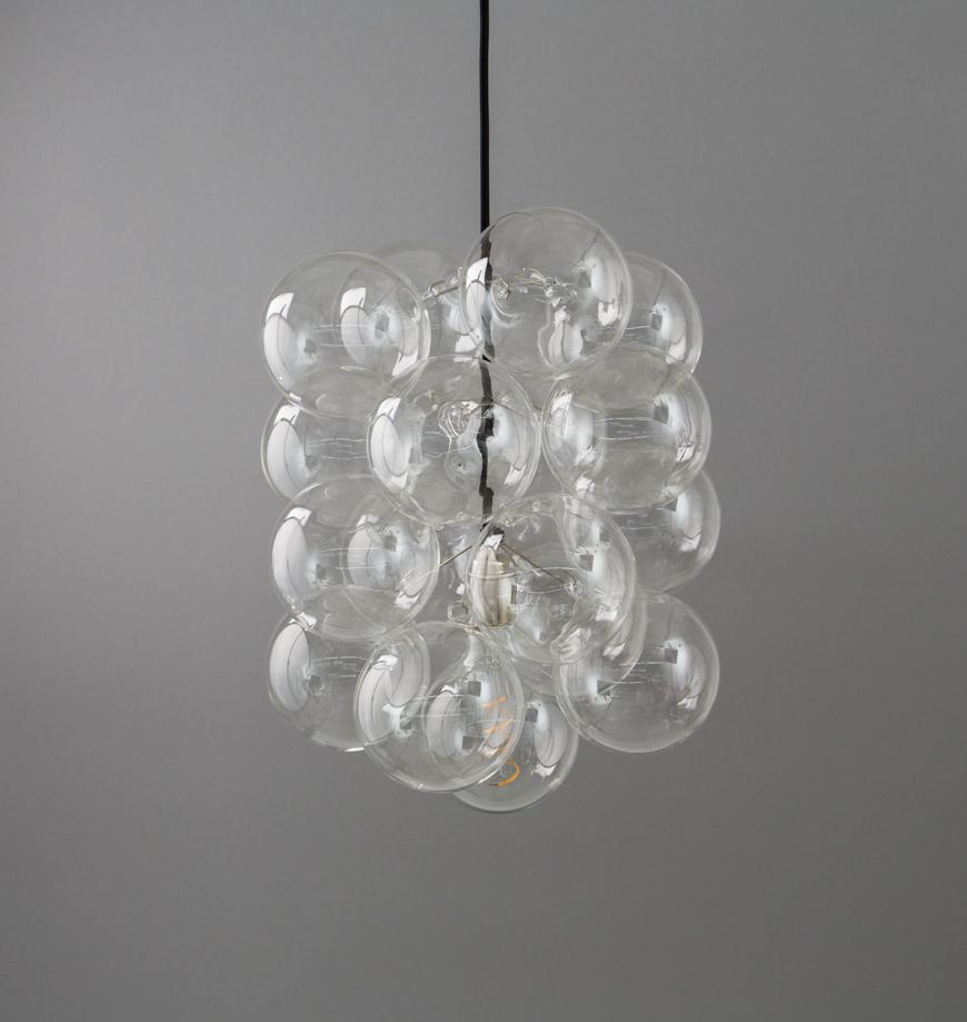 Bubble Chandelier Single Point 16 Bauble Glass Pendant