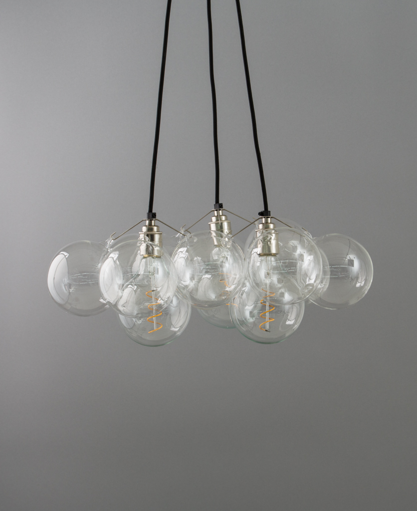 Bubble Chandelier Triple Point 12 Bauble Glass Pendant