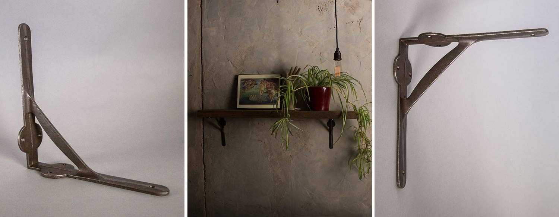 eddie metal shelf bracket against grey background