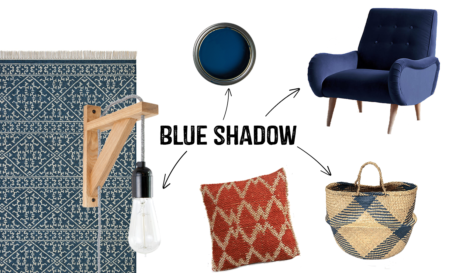 2017 Colour Trends Blue Shadow Interior Mood board