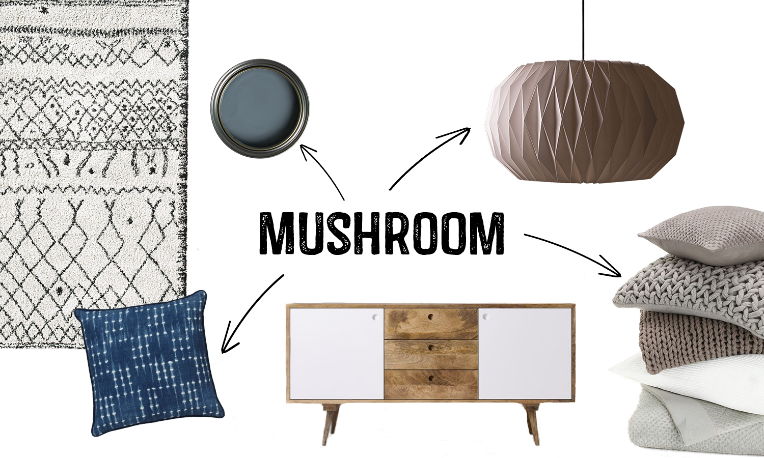 2017 Colour Trends Mushroom Interior Mood board