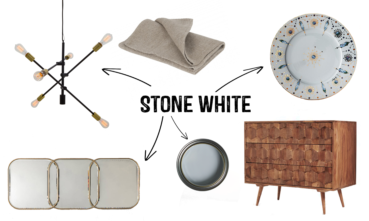 2017 Colour Trends Stone White Interior Mood board
