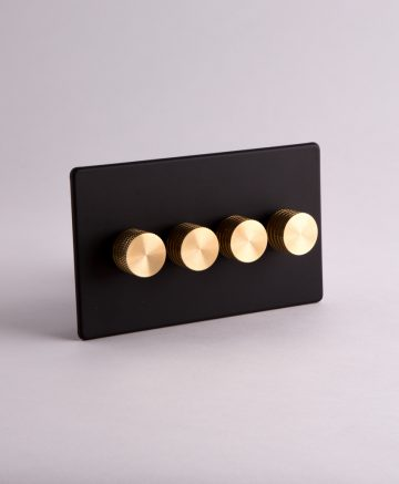 designer dimmer switch quadruple black & gold