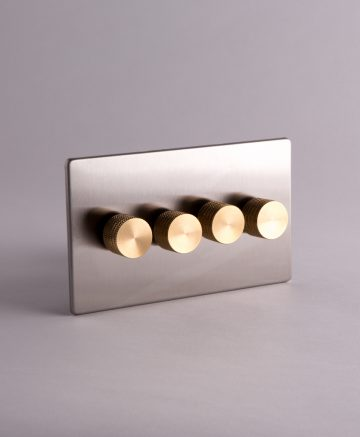 designer dimmer switch quadruple silver & gold