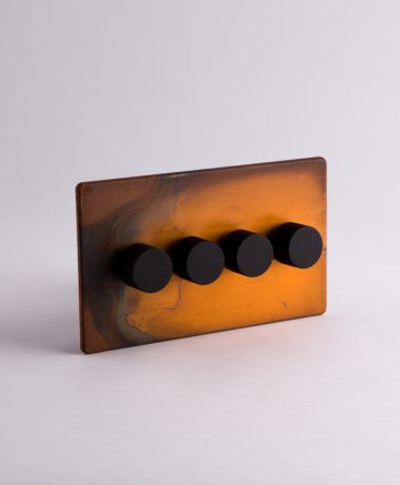 designer dimmer switch quadruple copper & black