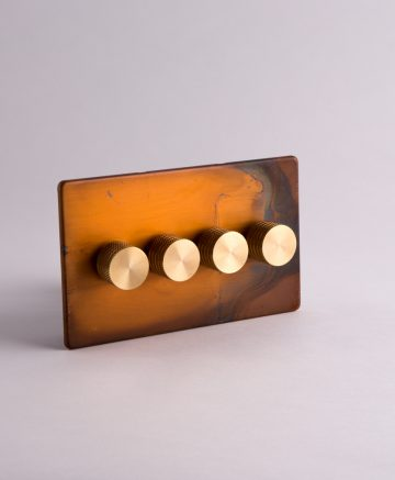 designer dimmer switch quadruple copper & gold