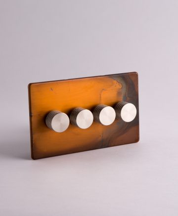 designer dimmer switch quadruple copper & silver