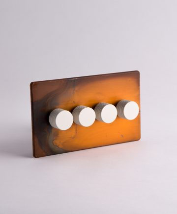 designer dimmer switch quadruple copper & white