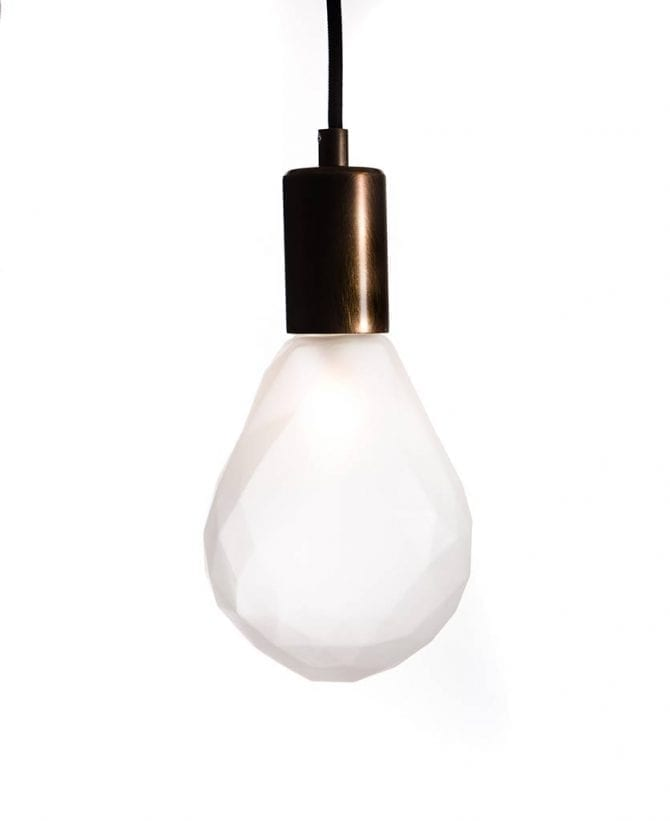 Christal pendant polygon pear frosted aged brass