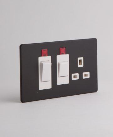 Cooker Switch & Socket Black & White