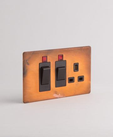 Cooker Switch & Socket Tarnished Copper & Black